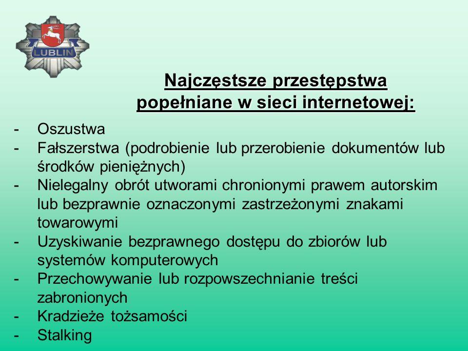 Najczęstsze przestępstwa popełniane w sieci internetowej: