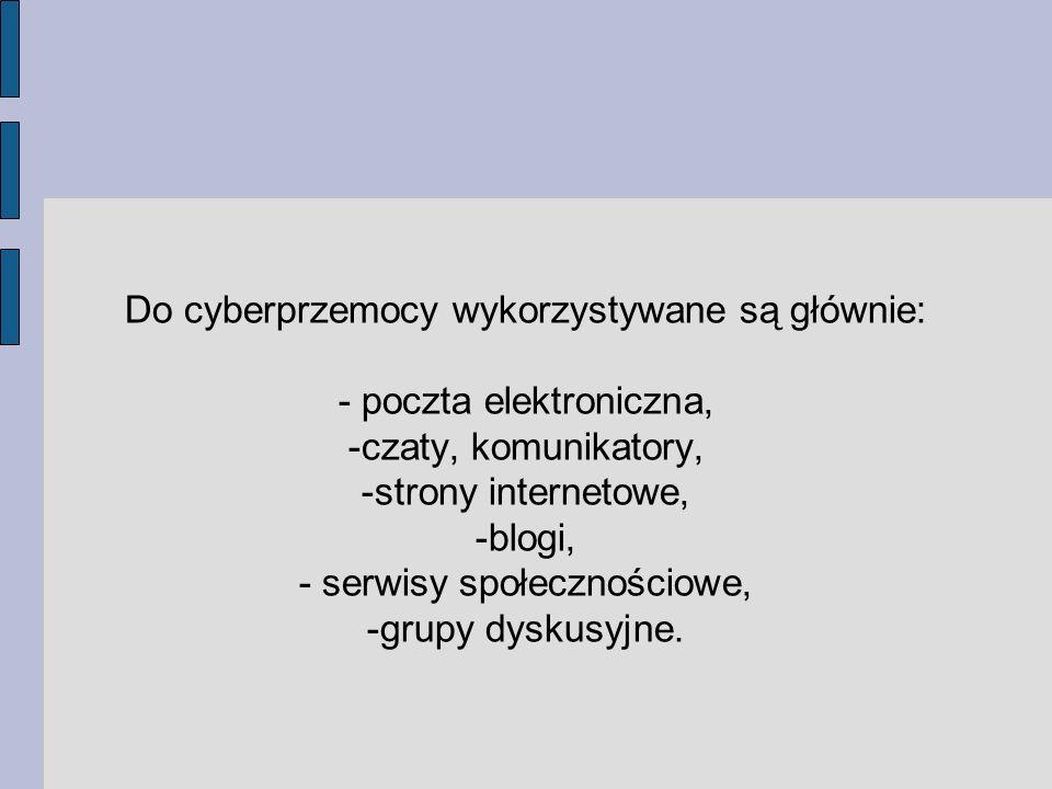 Do cyberprzemocy wykorzystywane są głównie: - poczta elektroniczna,