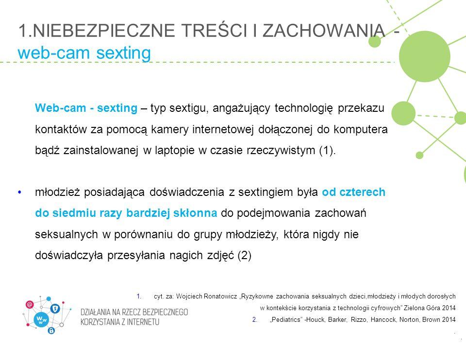1.NIEBEZPIECZNE TREŚCI I ZACHOWANIA - web-cam sexting