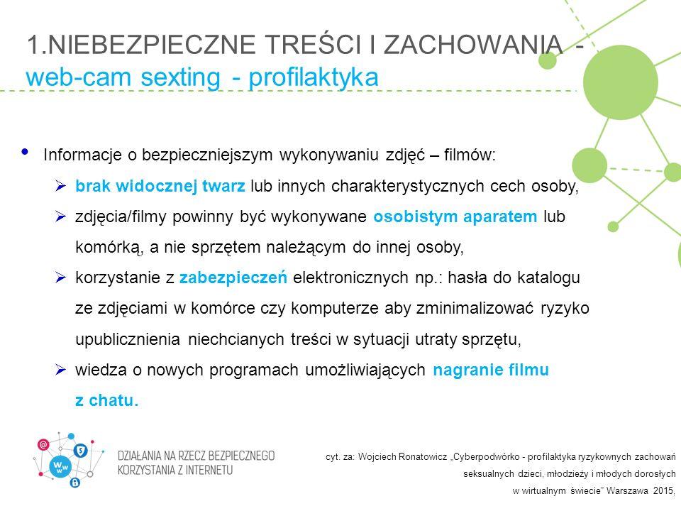 1.NIEBEZPIECZNE TREŚCI I ZACHOWANIA - web-cam sexting - profilaktyka