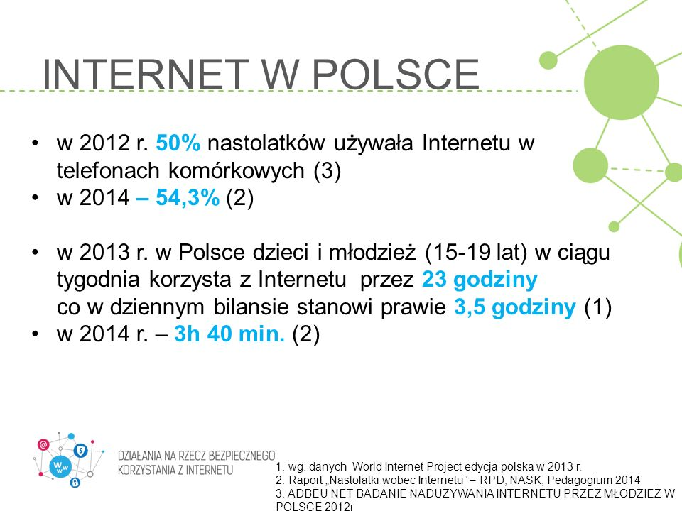 INTERNET W POLSCE w 2012 r. 50% nastolatków używała Internetu w telefonach komórkowych (3) w 2014 – 54,3% (2)