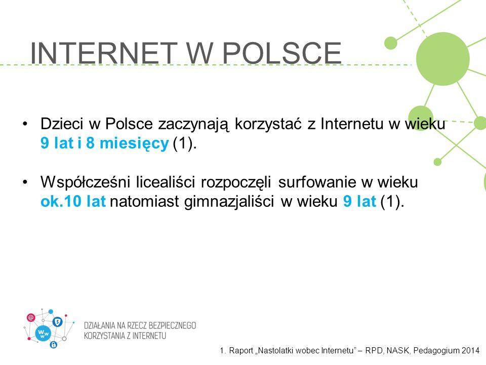 INTERNET W POLSCE Dzieci w Polsce zaczynają korzystać z Internetu w wieku 9 lat i 8 miesięcy (1).