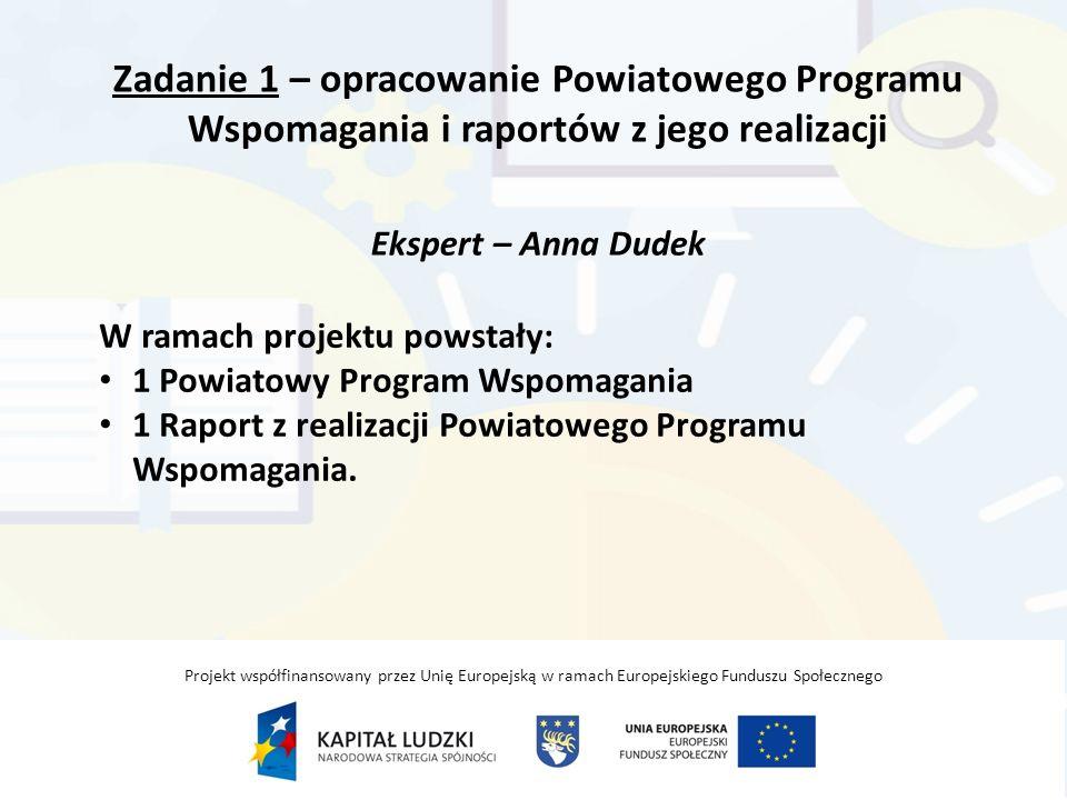 Zadanie 1 – opracowanie Powiatowego Programu Wspomagania i raportów z jego realizacji