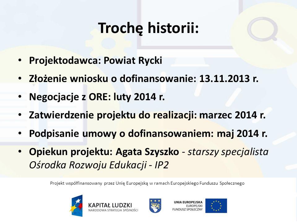 Trochę historii: Projektodawca: Powiat Rycki