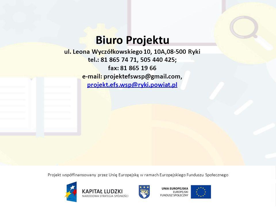 Biuro Projektu ul. Leona Wyczółkowskiego 10, 10A,08-500 Ryki tel
