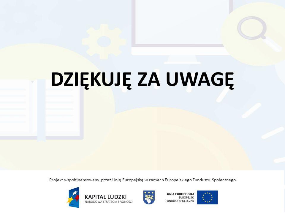 DZIĘKUJĘ ZA UWAGĘ Projekt współfinansowany przez Unię Europejską w ramach Europejskiego Funduszu Społecznego.