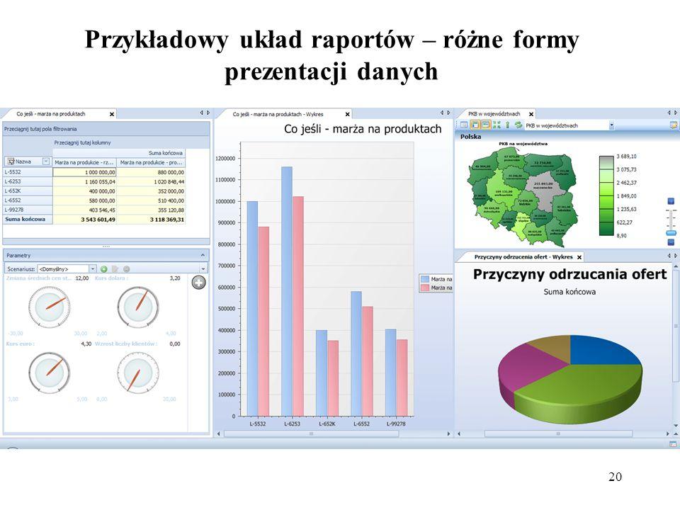 Przykładowy układ raportów – różne formy prezentacji danych