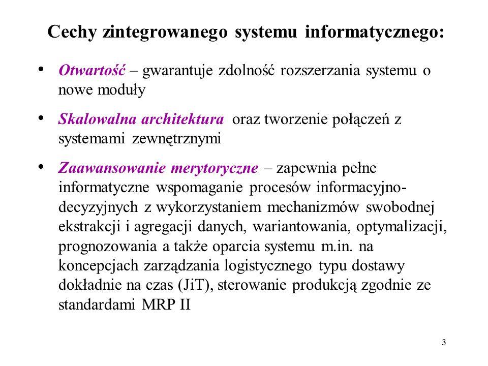 Cechy zintegrowanego systemu informatycznego: