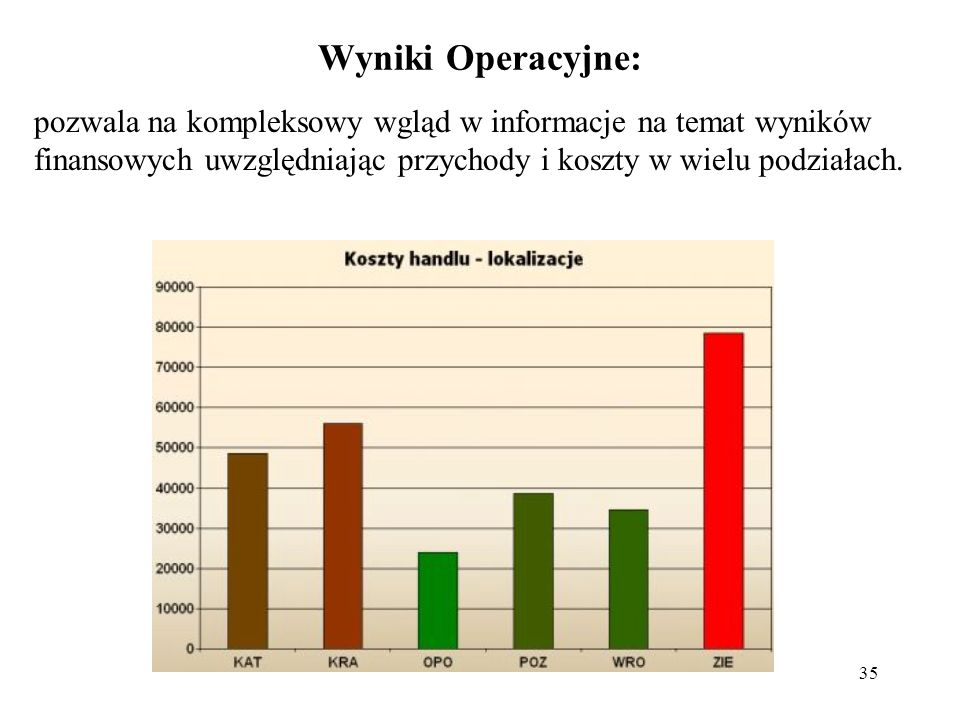 Wyniki Operacyjne: pozwala na kompleksowy wgląd w informacje na temat wyników finansowych uwzględniając przychody i koszty w wielu podziałach.