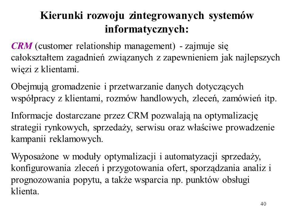 Kierunki rozwoju zintegrowanych systemów informatycznych:
