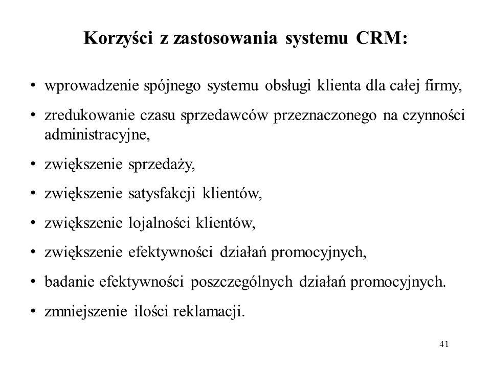 Korzyści z zastosowania systemu CRM: