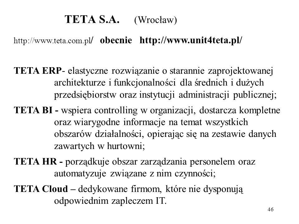 TETA S.A. (Wrocław) http://www.teta.com.pl/ obecnie http://www.unit4teta.pl/