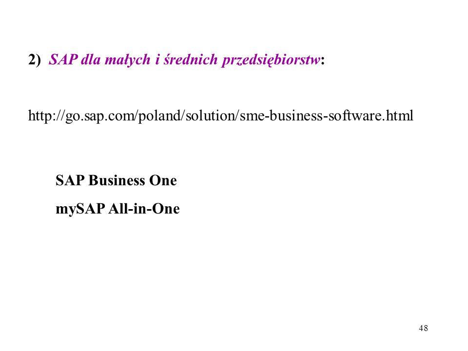 2) SAP dla małych i średnich przedsiębiorstw: