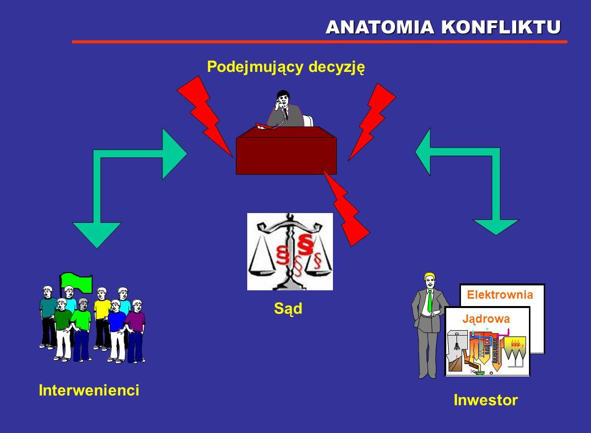 ANATOMIA KONFLIKTU Podejmujący decyzję Sąd Interwenienci Inwestor