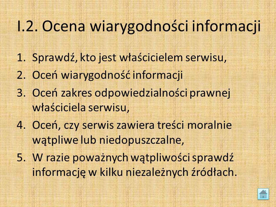 I.2. Ocena wiarygodności informacji