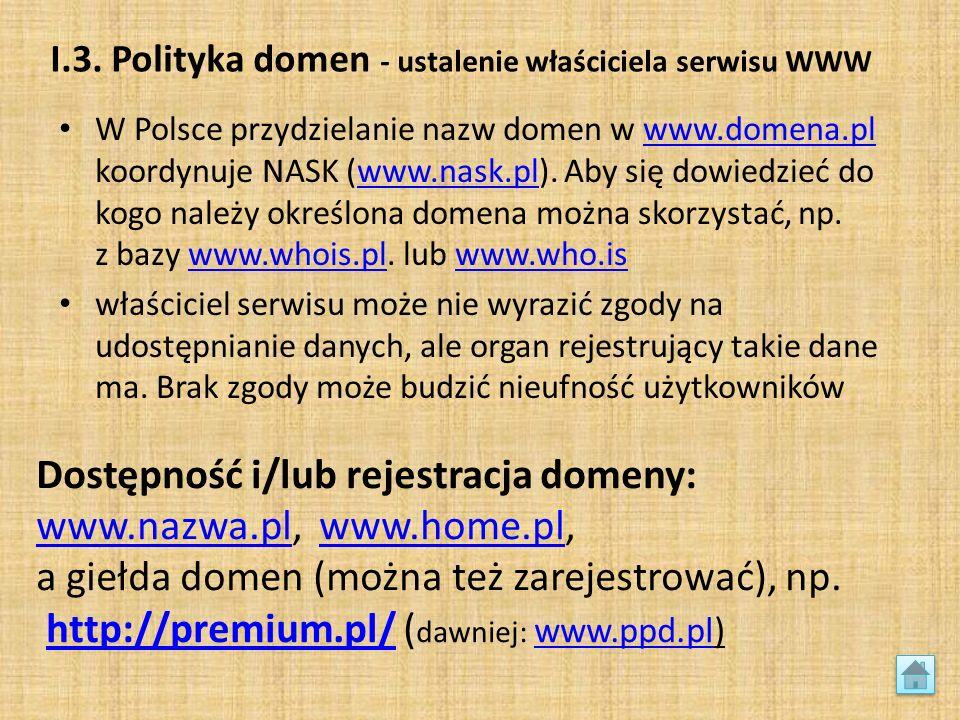 I.3. Polityka domen - ustalenie właściciela serwisu WWW