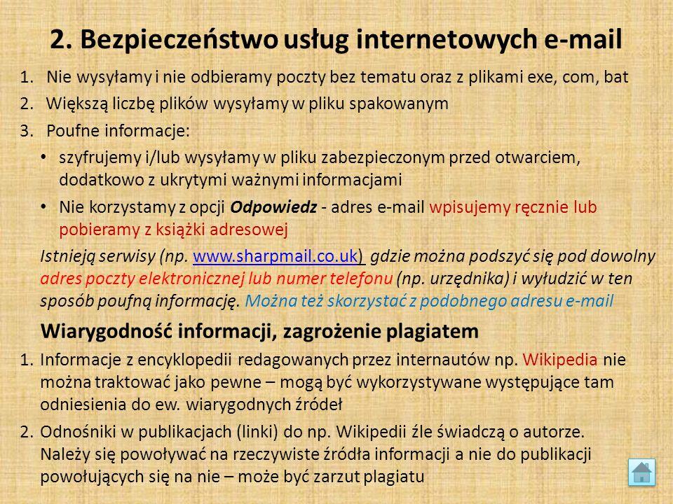 2. Bezpieczeństwo usług internetowych e-mail