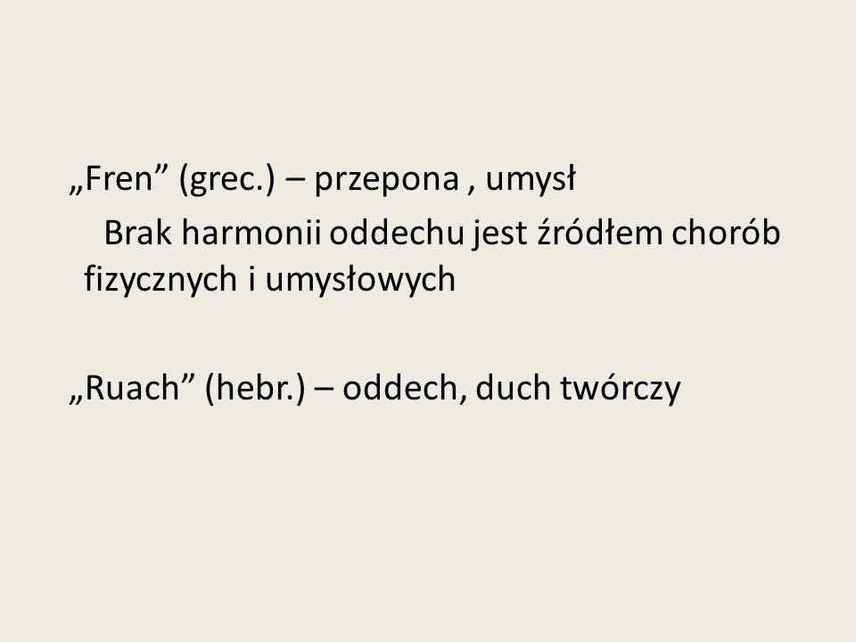 """""""Fren (grec.) – przepona , umysł Brak harmonii oddechu jest źródłem chorób fizycznych i umysłowych """"Ruach (hebr.) – oddech, duch twórczy"""