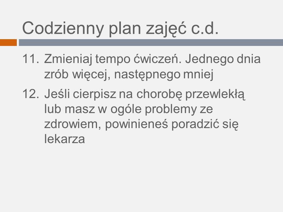 Codzienny plan zajęć c.d.