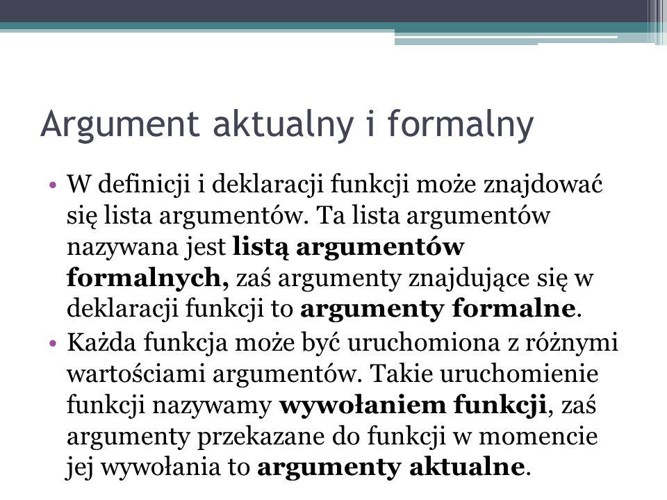 Argument aktualny i formalny