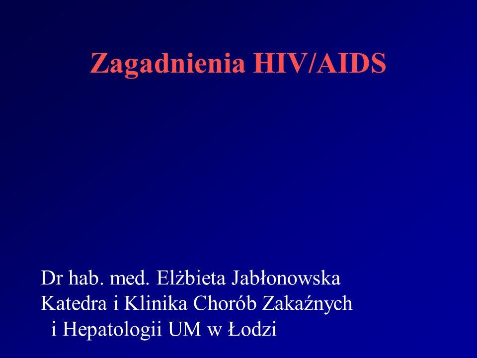 Zagadnienia HIV/AIDS Dr hab. med. Elżbieta Jabłonowska