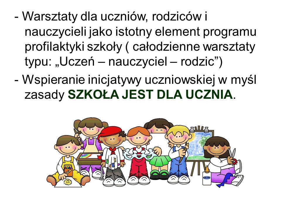 """- Warsztaty dla uczniów, rodziców i nauczycieli jako istotny element programu profilaktyki szkoły ( całodzienne warsztaty typu: """"Uczeń – nauczyciel – rodzic )"""