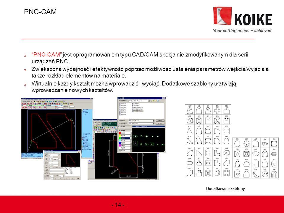 PNC-CAM PNC-CAM jest oprogramowaniem typu CAD/CAM specjalnie zmodyfikowanym dla serii urządzeń PNC.