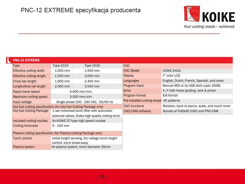 PNC-12 EXTREME specyfikacja producenta