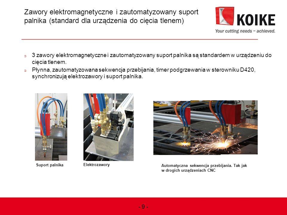 9 Zawory elektromagnetyczne i zautomatyzowany suport palnika (standard dla urządzenia do cięcia tlenem)