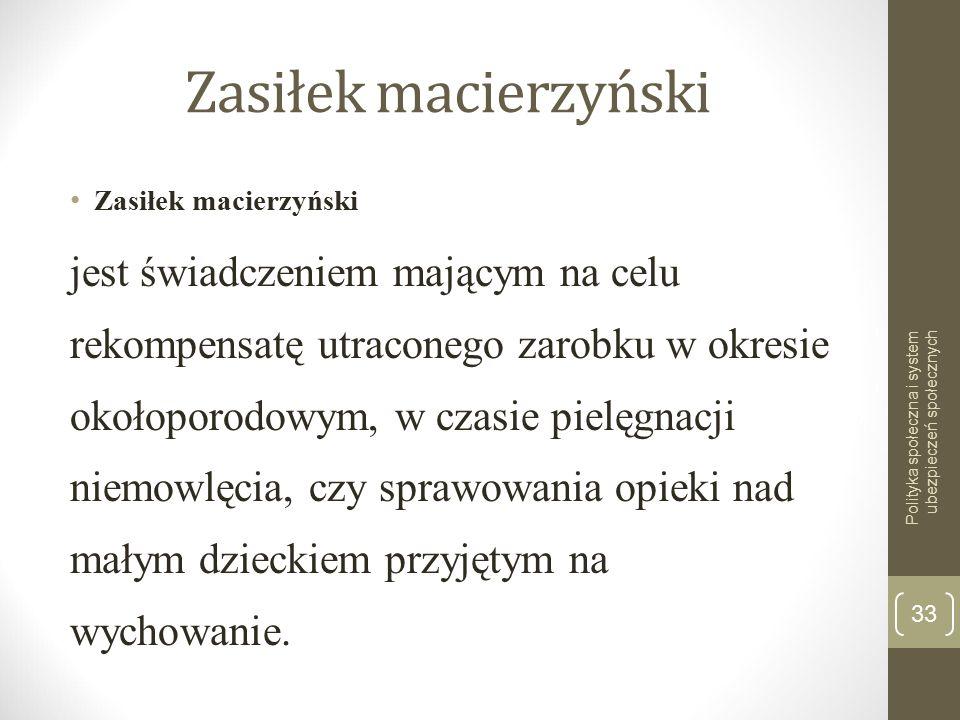 Zasiłek macierzyński Zasiłek macierzyński.