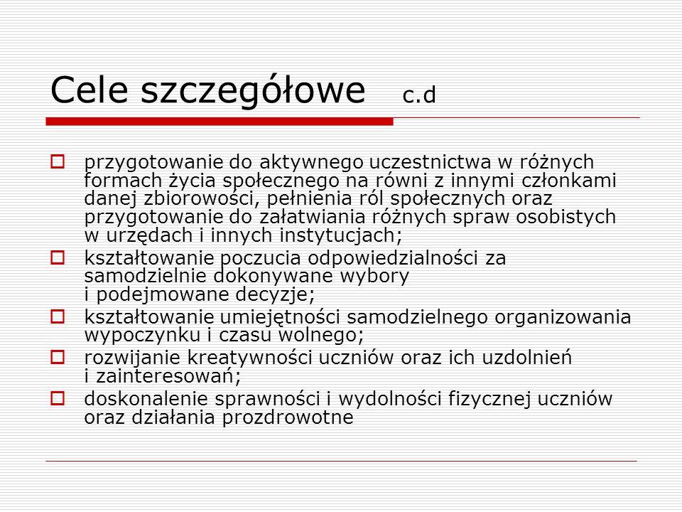 Cele szczegółowe c.d