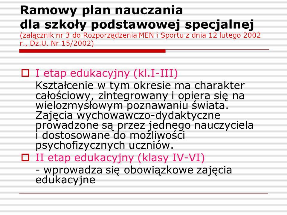 Ramowy plan nauczania dla szkoły podstawowej specjalnej (załącznik nr 3 do Rozporządzenia MEN i Sportu z dnia 12 lutego 2002 r., Dz.U. Nr 15/2002)