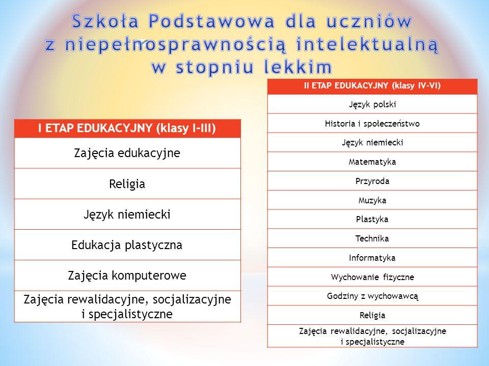 II ETAP EDUKACYJNY (klasy IV-VI) I ETAP EDUKACYJNY (klasy I-III)