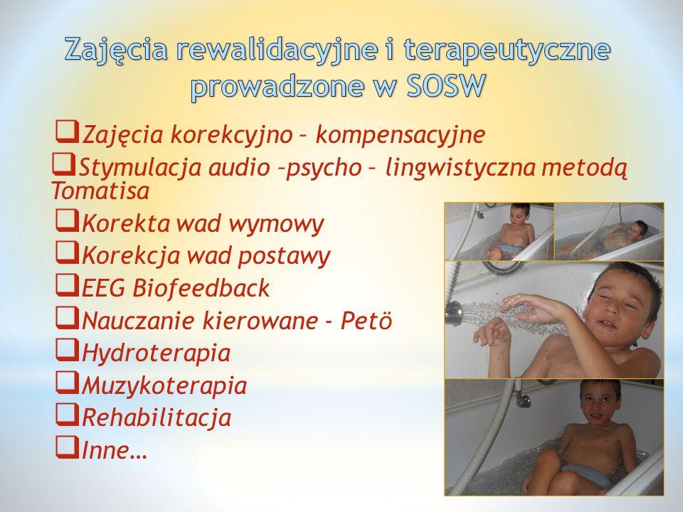 Zajęcia rewalidacyjne i terapeutyczne prowadzone w SOSW