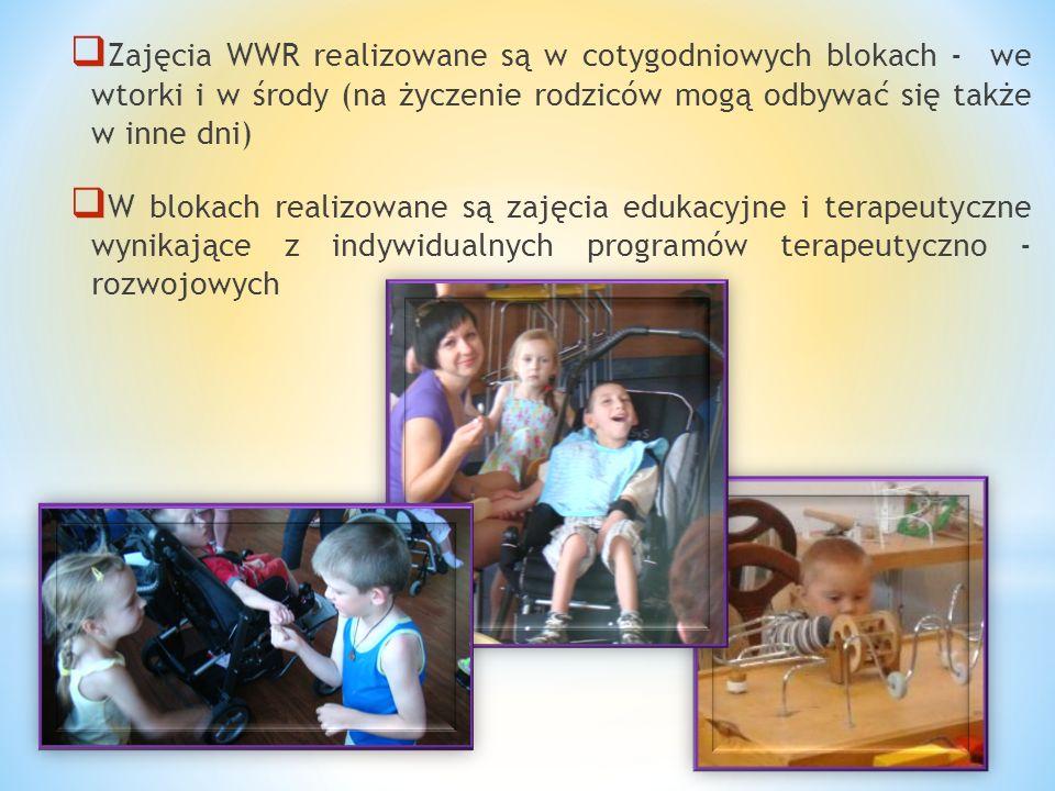 Zajęcia WWR realizowane są w cotygodniowych blokach - we wtorki i w środy (na życzenie rodziców mogą odbywać się także w inne dni)