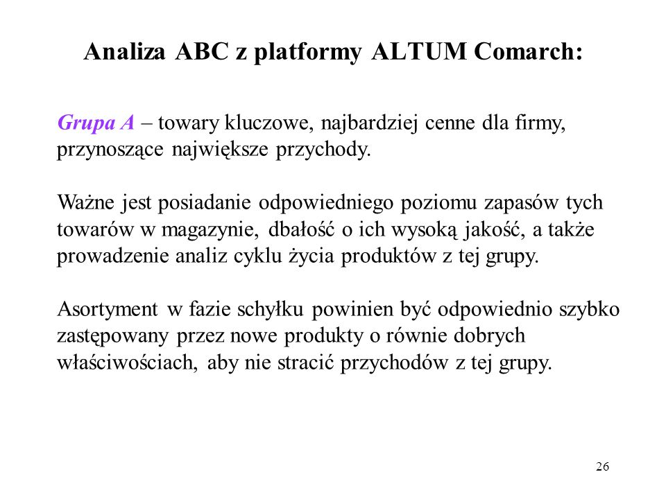 Analiza ABC z platformy ALTUM Comarch: