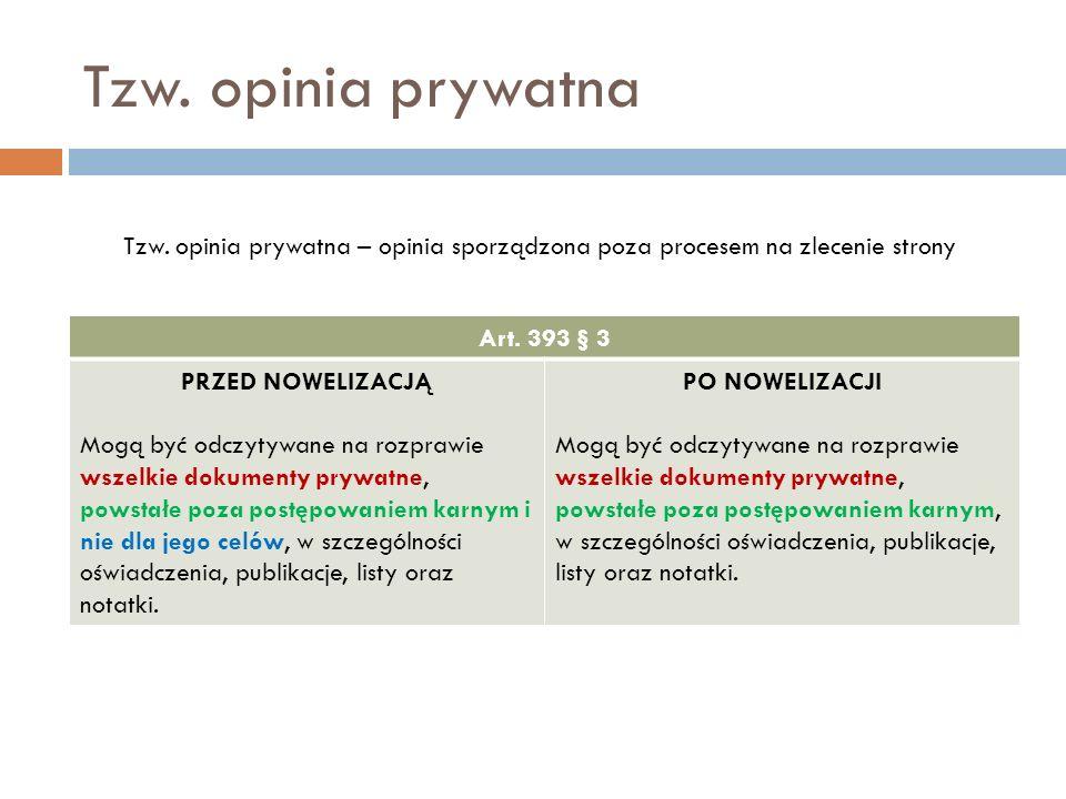 Tzw. opinia prywatna Tzw. opinia prywatna – opinia sporządzona poza procesem na zlecenie strony. Art. 393 § 3.