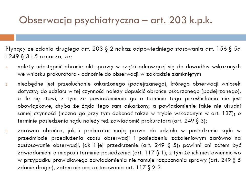 Obserwacja psychiatryczna – art. 203 k.p.k.
