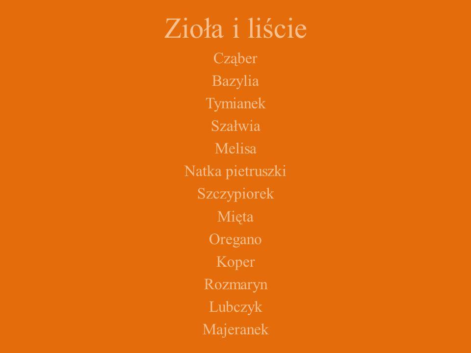 Zioła i liście Cząber Bazylia Tymianek Szałwia Melisa Natka pietruszki