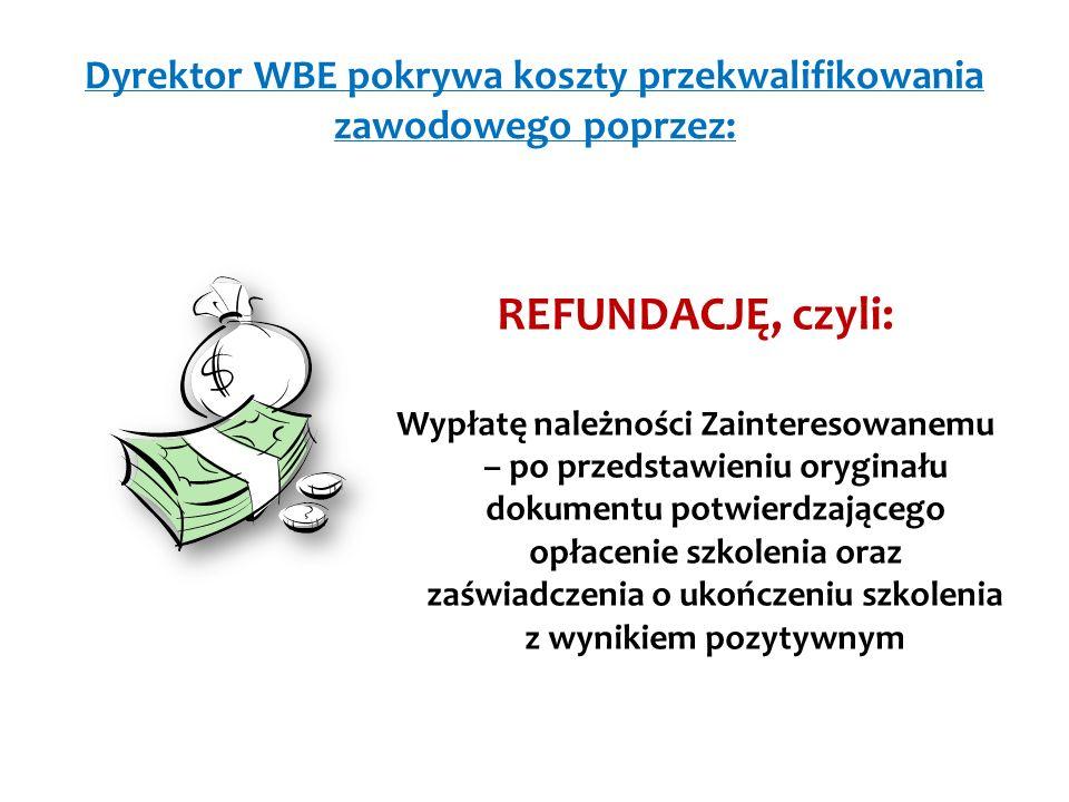 Dyrektor WBE pokrywa koszty przekwalifikowania zawodowego poprzez: