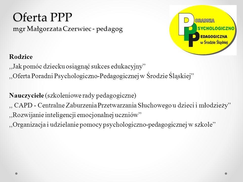 Oferta PPP mgr Małgorzata Czerwiec - pedagog