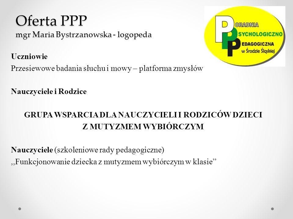 Oferta PPP mgr Maria Bystrzanowska - logopeda