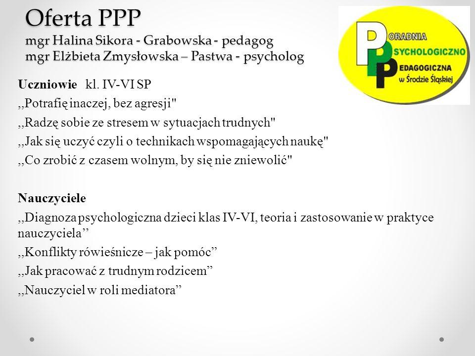 Oferta PPP mgr Halina Sikora - Grabowska - pedagog mgr Elżbieta Zmysłowska – Pastwa - psycholog