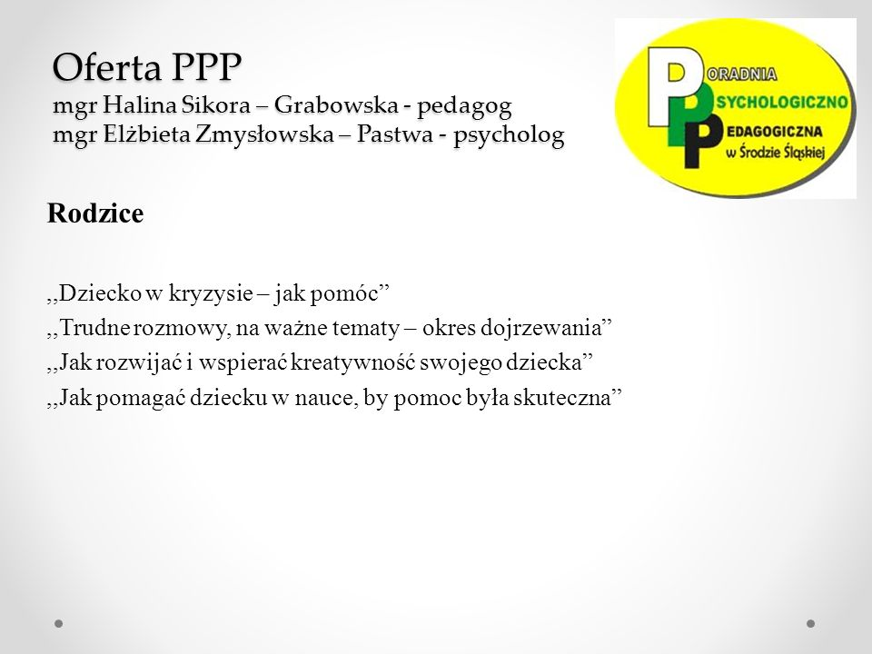 Oferta PPP mgr Halina Sikora – Grabowska - pedagog mgr Elżbieta Zmysłowska – Pastwa - psycholog