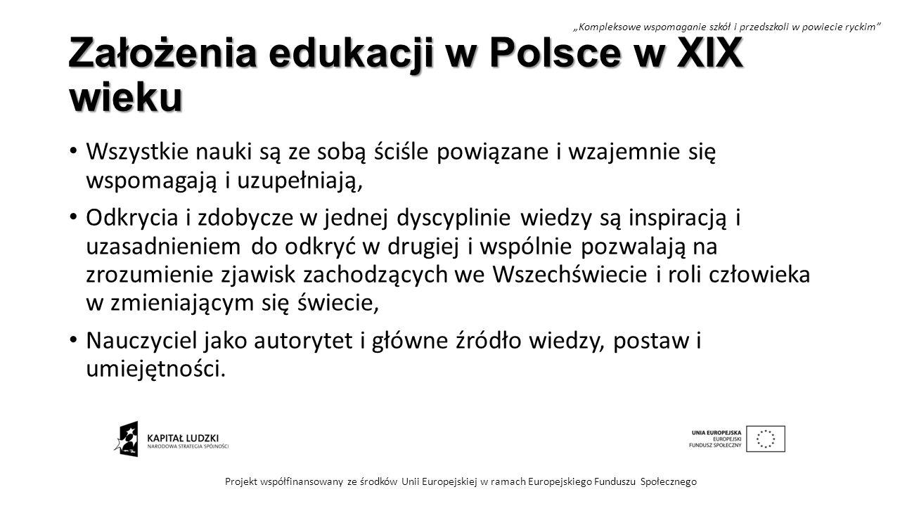 Założenia edukacji w Polsce w XIX wieku