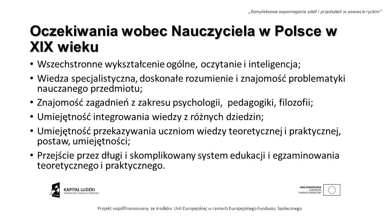 Oczekiwania wobec Nauczyciela w Polsce w XIX wieku