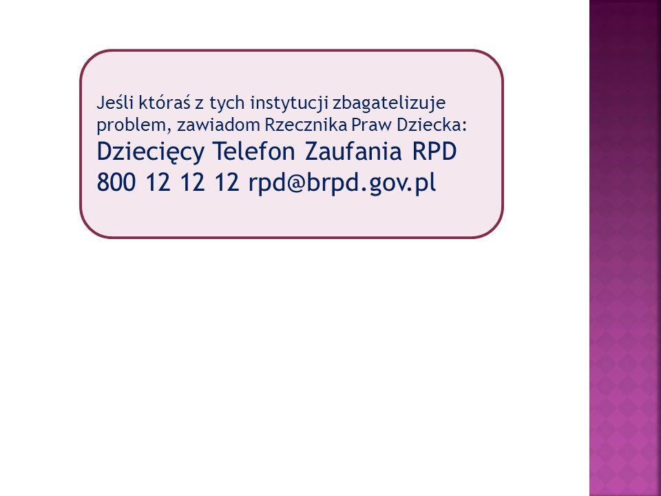 Dziecięcy Telefon Zaufania RPD 800 12 12 12 rpd@brpd.gov.pl