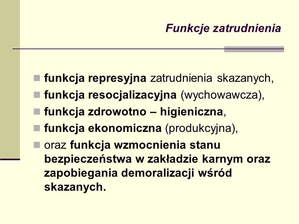 Funkcje zatrudnienia funkcja represyjna zatrudnienia skazanych, funkcja resocjalizacyjna (wychowawcza),