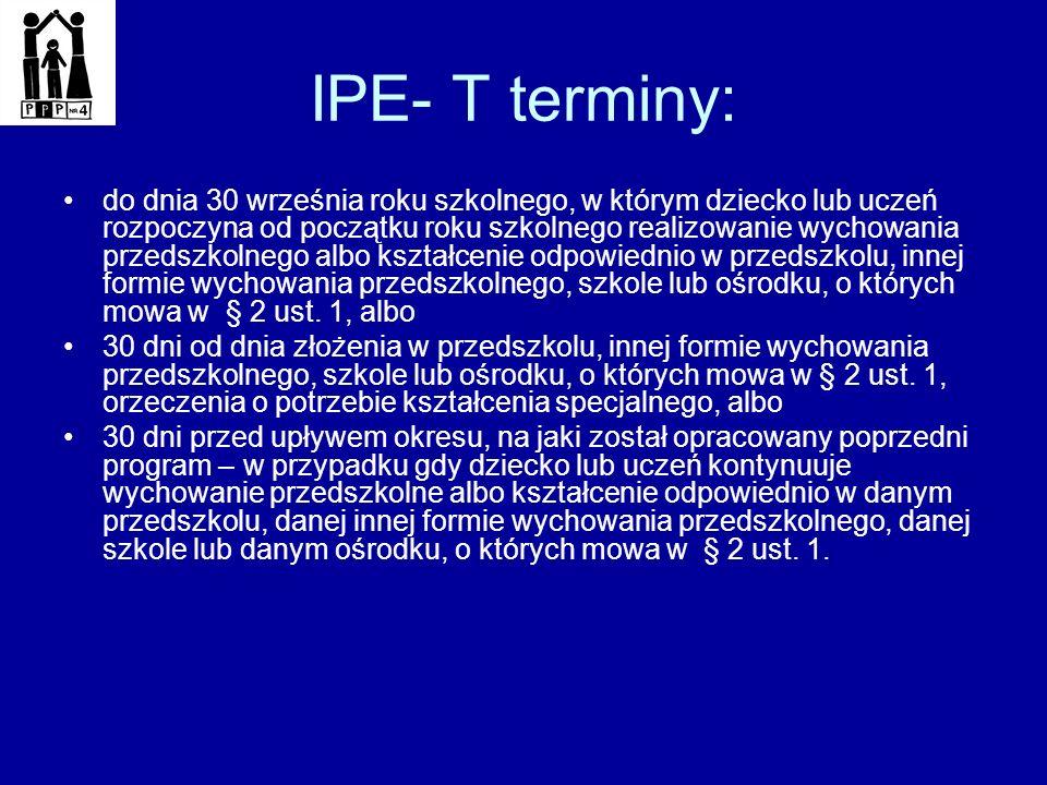 IPE- T terminy: