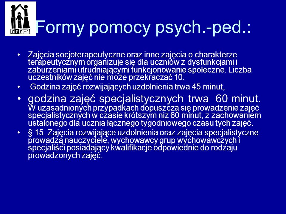 Formy pomocy psych.-ped.: